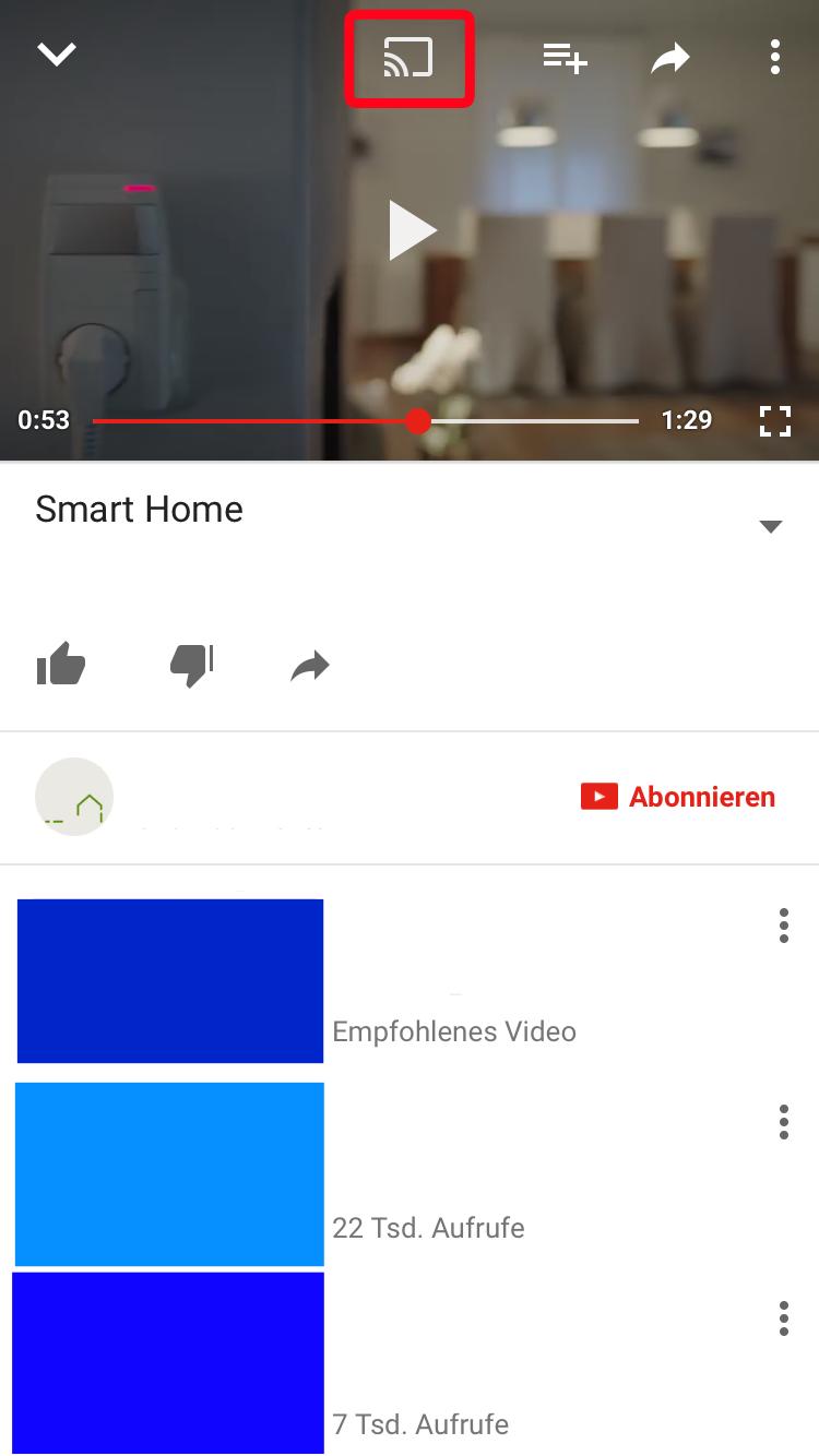 Auf das Symbol tippen und Dateien auf den Smart TV laden