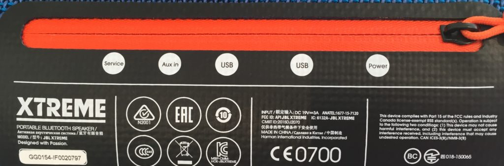 JBL Xtreme Wasserdichte Soundbox Reisverschluss